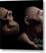 Australopithecus With Skull Metal Print