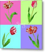 Background With Tulips Metal Print