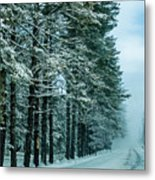 Bad Road Conditions While Driving In Winter Metal Print