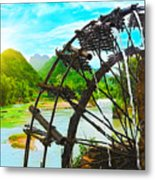 Bamboo Water Wheel Metal Print