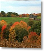 Barn On Autumn Hillside  A Seasonal Perspective Of A Quiet Farm Scene Metal Print