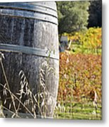 Barrel In The Vineyard Metal Print