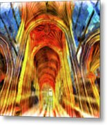 Bath Abbey Sun Rays Art Metal Print