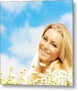 Beautiful Woman Enjoying Daisy Field And Blue Sky Metal Print