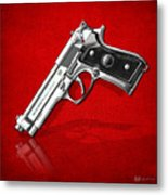 Beretta 92fs Inox Over Red Leather  Metal Print