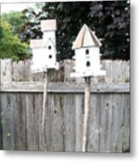 2 Bird Houses And A Fence Metal Print