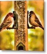 2 Bird's Eating  Metal Print
