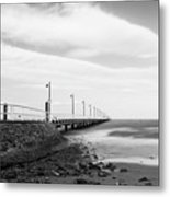 Black And White Image Of Shorncliffe Pier Metal Print