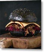 Black Burger With Stews Metal Print