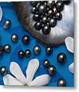 Black Pearls And Tiare Flowers Metal Print