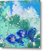 2 Blue Fish Metal Print