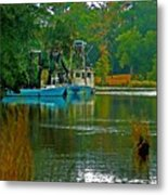 2 Blue Shrimp Boats Metal Print