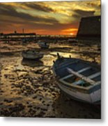 Boats On La Caleta Cadiz Spain Metal Print
