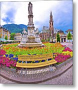 Bolzano Main Square Waltherplatz Panoramic View Metal Print