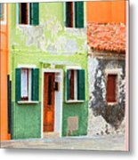Burano Anisland Of Multi Colored Homes On Canals North Of Venice Italy Metal Print