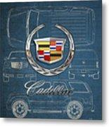 Cadillac 3 D Badge over Cadillac Escalade Blueprint  Metal Print