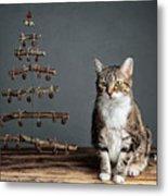 Cat Christmas Metal Print