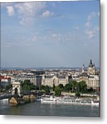 Chain Bridge On Danube River Budapest Cityscape Metal Print