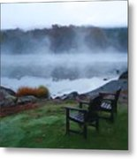 2 Chairs By Ocean With Sea Smoke Metal Print