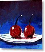 2 Cherries On A White Plate Metal Print