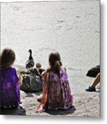 Children At The Pond 5 Metal Print