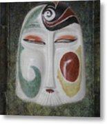 Chinese Porcelain Mask Grunge Metal Print