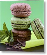 Chocolate And Mint Flavor Macaroons On Dark Wood Table Metal Print