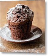 Chocolate Muffin With Powdered Sugar Metal Print
