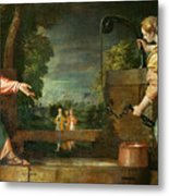 Christ And The Samaritan Woman At The Well Metal Print