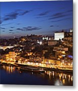 City Of Porto In Portugal By Night Metal Print