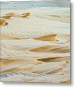Close-up Of Beautiful Sunlit Ripple Surface Of Sand In Desert  Metal Print