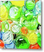 Colored Glass Beads On White Background Metal Print