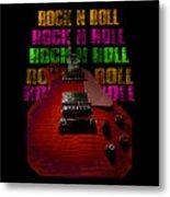 Colorful Music Rock N Roll Guitar Retro Distressed Metal Print