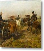 Cossacks Returning Home On Horseback Metal Print