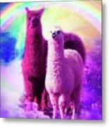 Crazy Funny Rainbow Llama In Space Metal Print