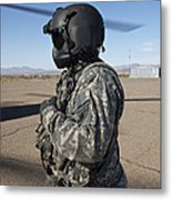 Crew Chief Of A Ch-47 Chinook Stands Metal Print