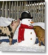 Curious Piglets And Snowman Metal Print