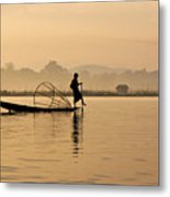 Dawn On Inle Lake Metal Print
