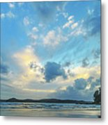Dawn Seascape With Cloudy Sky Metal Print
