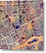 Detroit Michigan City Map Metal Print