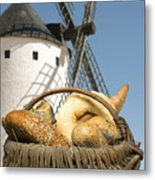 Different Breads And Windmill In The Background Metal Print