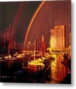 Docklands Double Rainbow Metal Print