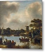 Dutch Landscape With Fishers Metal Print