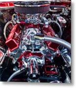 Engine Compartment Of Chromed Camaro Metal Print