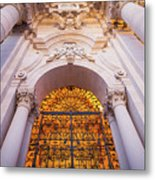 Entrance Of The Syracuse Baroque Cathedral In Sicily - Italy Metal Print