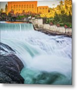 Falls And The Washington Water Power Building Along The Spokane  Metal Print