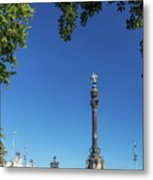 Famous Columbus Monument Landmark In Central Barcelona Spain Metal Print