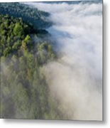 Fantastic Dreamy Sunrise On Foggy Mountains Metal Print