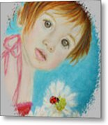 Felisa Little Angel Of Happiness And Luck Metal Print by The Art With A Heart By Charlotte Phillips