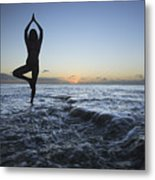 Female Doing Yoga At Sunset Metal Print
